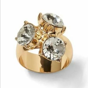 Banana Republic 3 Crystal Round Cluster Stone Ring